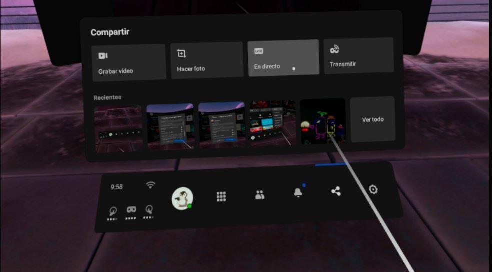 Menú de Oculus Quest para transmisión en directo a Facebook