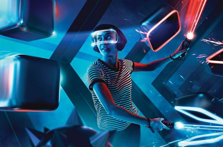 Rompiendo bloques en Beat Saber para Oculus Quest