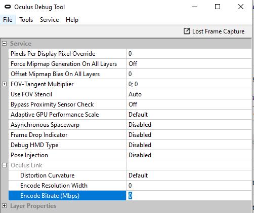 Configuración de Oculus Debug Tool según el tutorial de Oculus Link