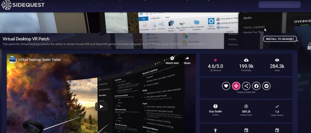 Elemento visual para instalar Virtual Desktop VR Patch