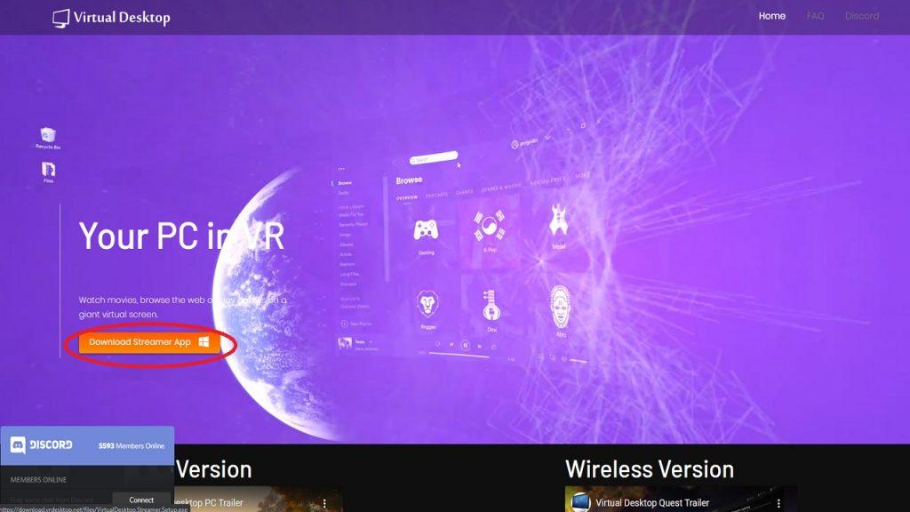 Ilustración de descarga web Streamer App de Virtual Desktop