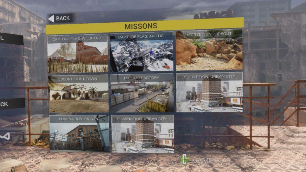 Tipos de misiones en singleplayer de Contractors VR