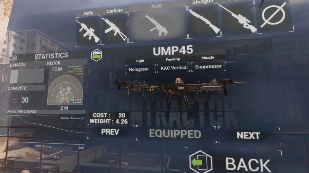 Armamento disponible en Contractors VR