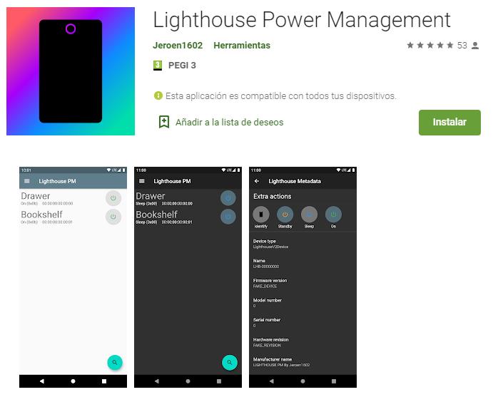 Aplicación Lighthouse Power Management