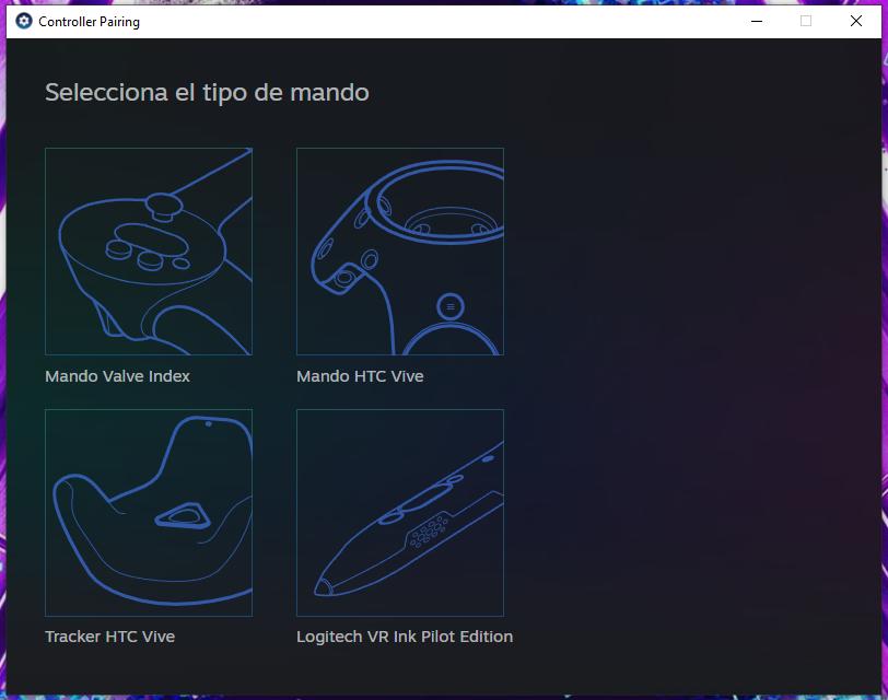 Selección de tipo de controlador de SteamVR