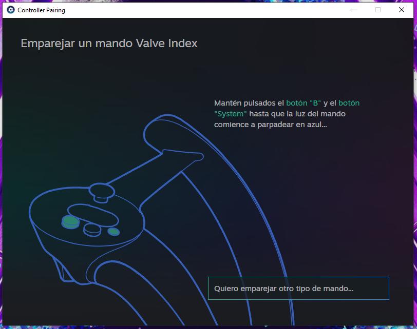 Como emparejar controlador de Valve Index