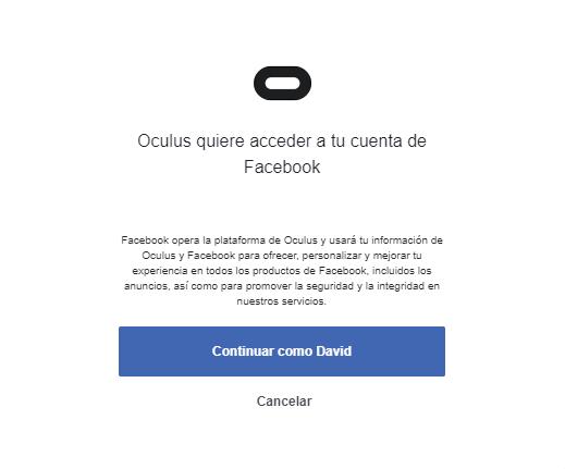 entrar en Oculus con facebook