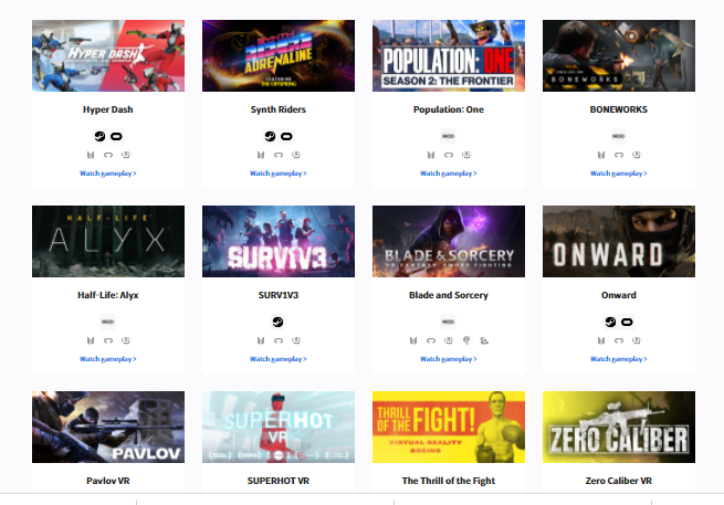 catálogo de juegos de Realidad Virtual para Bhaptics TactSuit