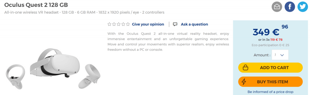 Precio del nuevo visor de Oculus para sustituir con 128Gb